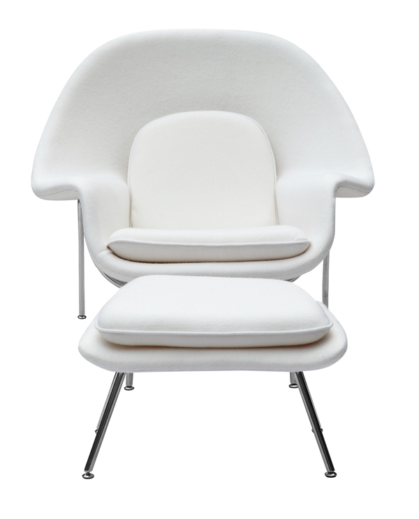Merveilleux Fine Mod Imports Eero Saarinen Style Womb Chair And Ottoman Set White Wool