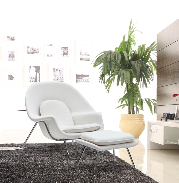 Fine Mod Imports Eero Saarinen Style Womb Chair And Ottoman Set White Wool