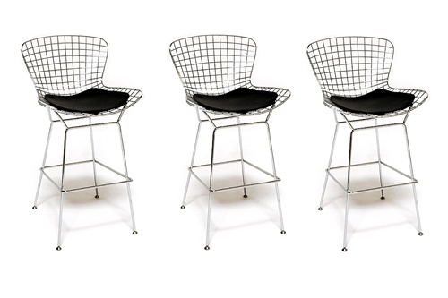 Fine Mod Imports Bertoia Style Wire Bar Stool Chair Set Of 3