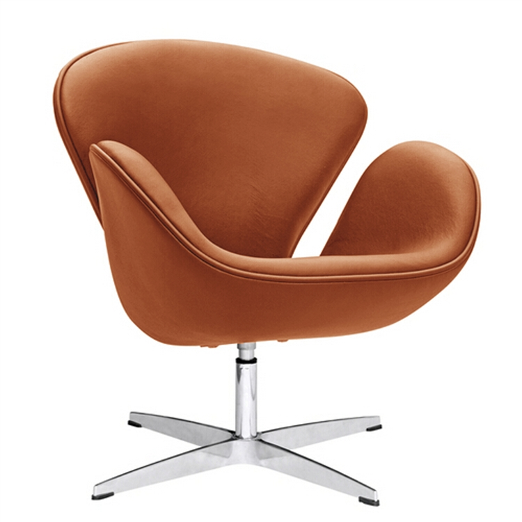 fine mod imports arne jacobsen swan chair in light brown leather