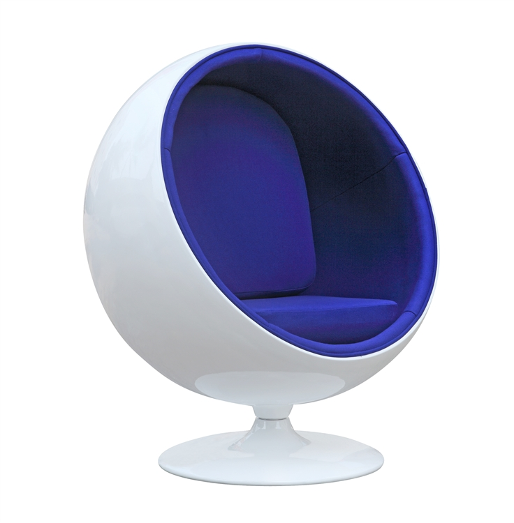 Mod Imports Eero Aarnio Style Ball Chair Blue Interior
