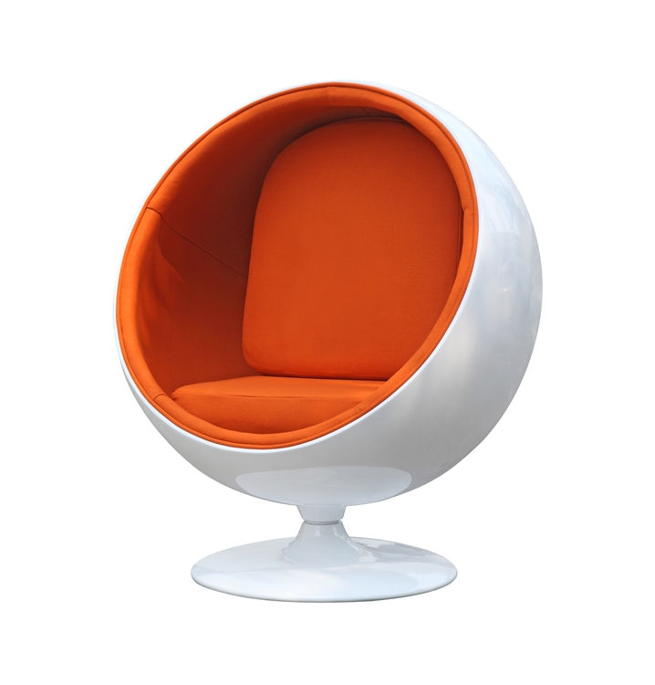 fine mod imports eero aarnio style ball chair orange interior