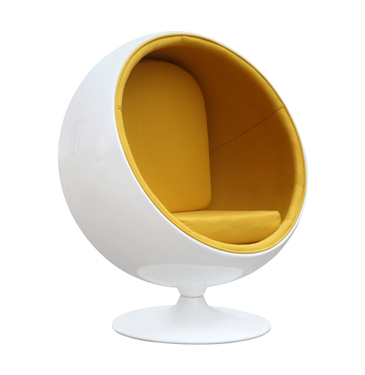 fine mod imports eero aarnio style ball chair yellow interior