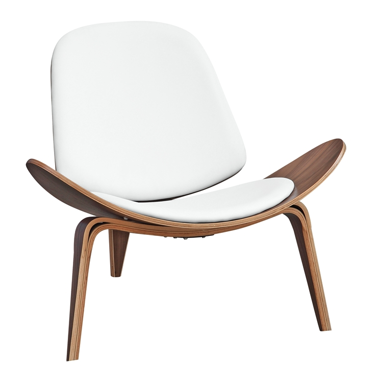 fine mod imports wegner shell chair white leather