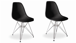 Fine Mod Imports Molded Plastic Side Chair WireLeg Base Black Shell Set Of 2
