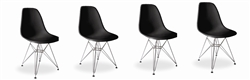 Fine Mod Imports Molded Plastic Side Chair WireLeg Base Black Shell Set Of 4