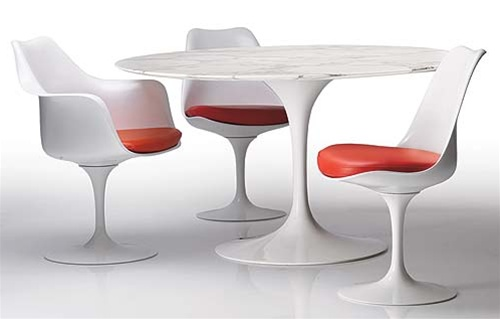 fine mod imports eero saarinen style tulip marble dining set 39 table and 4 chairs - Saarinen Tulip Table