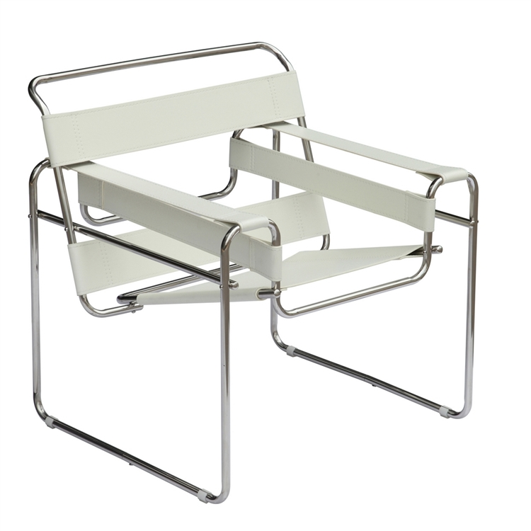 Fine Mod Imports Wassily Style Tubular Steel Chair by Marcel Breuer in White/ Black  sc 1 st  Instyle Modern.com : tubular chairs - Cheerinfomania.Com