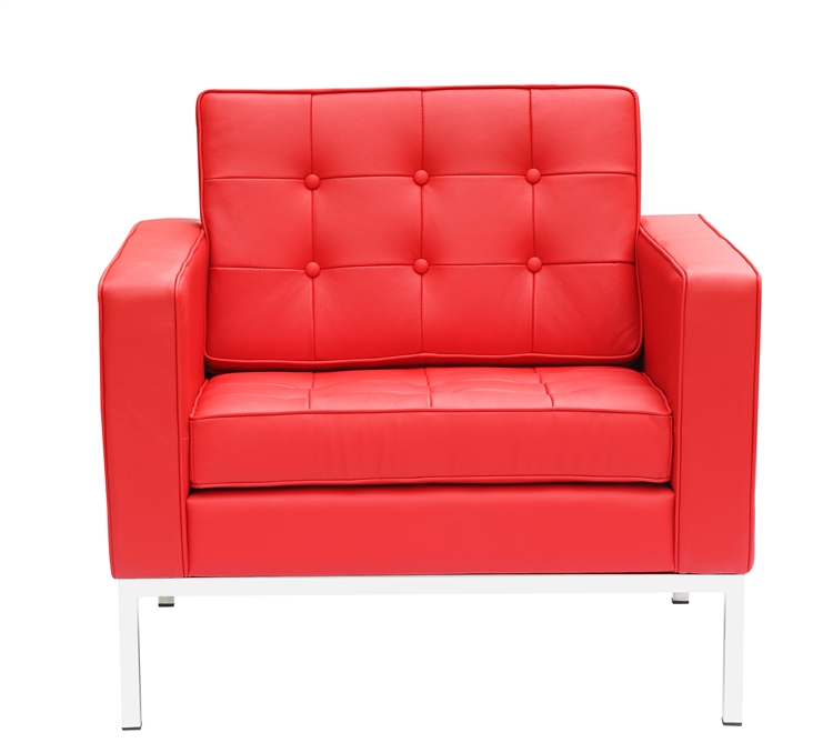 Fine Mod Imports Florence Style Modern Upholstered Arm Chair In Red Leather