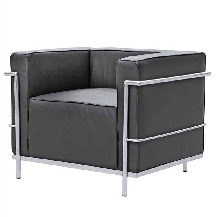 Fine Mod Imports Lc3 Grand Armchair In Black Leather