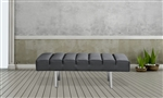 Fine Mod Imports Classic Leather Bench 2 Seater in Black Leather