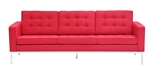 Fine Mod Imports Florence Style Modern Upholstered Sofa in Red Wool