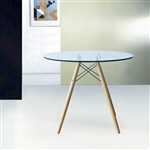 "Fine Mod Imports DSW WoodLeg Dining Table 29"" Glass Top"