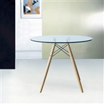 "Fine Mod Imports DSW WoodLeg Dining Table 36"" Glass Top"