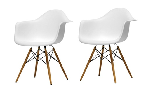 Fine Mod Imports Molded Plastic Armchair With WoodLeg Eiffel Legs Set Of 2