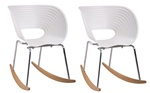 Fine Mod Imports Molded White Plastic Vac Arm Rocker Chair Set Of 2