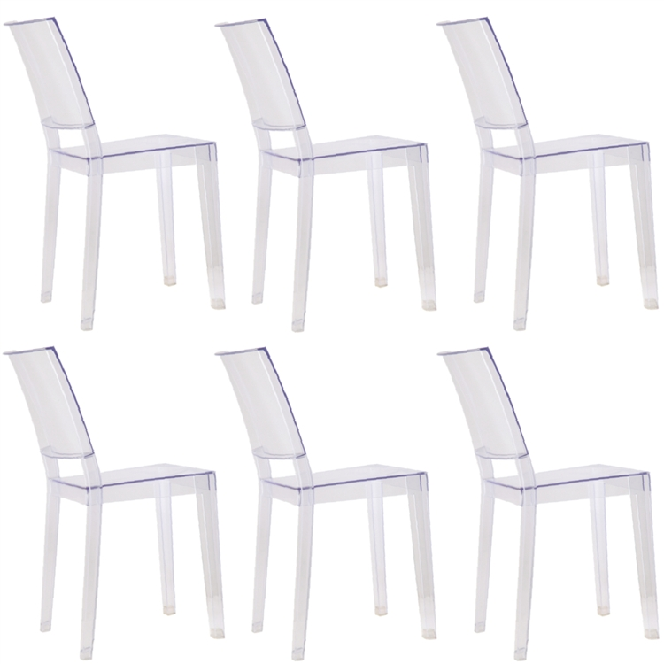 fine mod imports philippe starck style ghost clear square side chair
