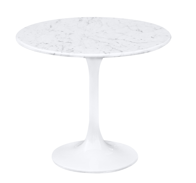 Fine Mod Imports Eero Saarinen Style Tulip End Side Table White Marble Top