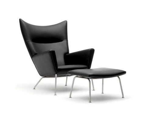 fine mod imports hans j wegner style wing chair ottoman in leather