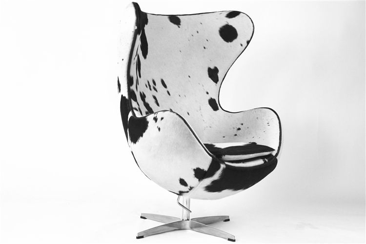 Fine Mod Imports Arne Jacobsen Egg Chair In Black And White Pony Cow Hide