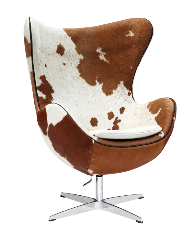 Jacobsen Egg Chair In Brown and White Cow Hide