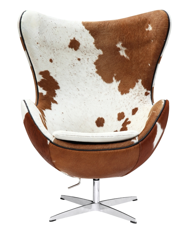 De Egg Chair.Arne Jacobsen Egg Chair In Brown And White Cow Hide