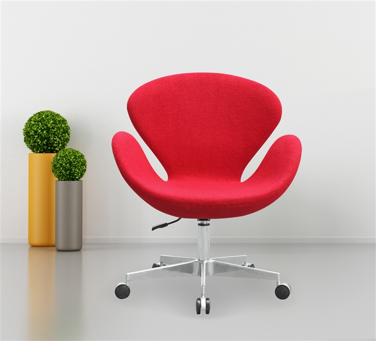 arne jacobsen swan chair in wool with casters