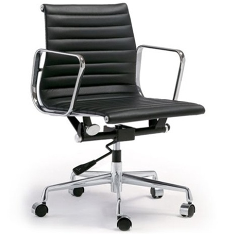 Fine Mod Imports Togo Ribbed Mid Back Leather Office Chair