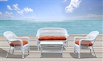 Fine Mod Imports Portside Coastal White 4-Piece Seating Set Orange Cushion