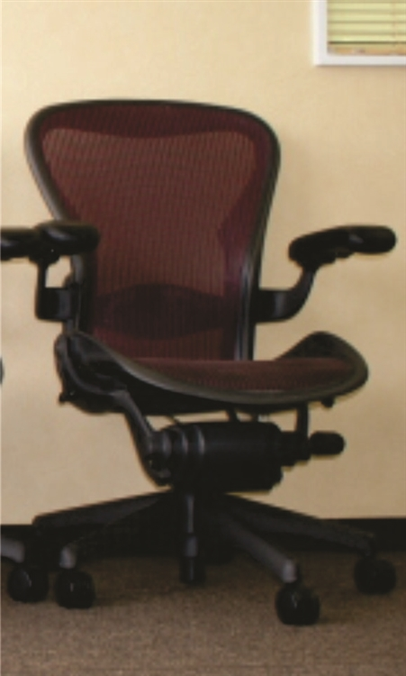 herman miller aeron chair size b loaded with options in burgundy - Herman Miller Aeron Chair