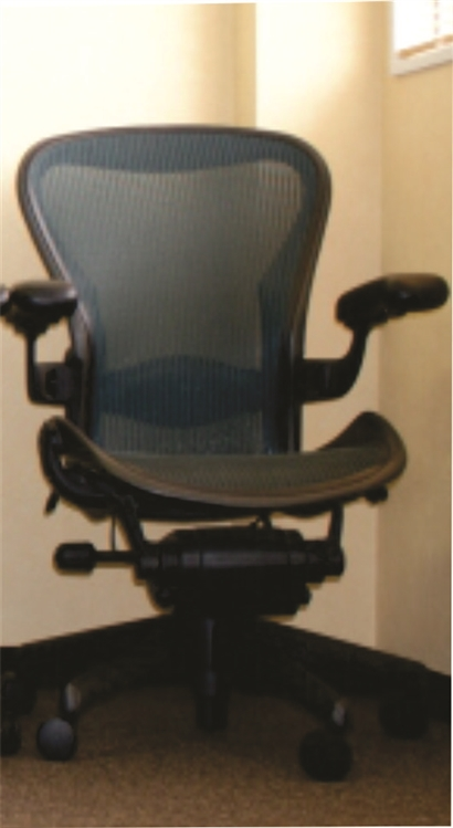 herman miller aeron chair size b fully featured with options in green - Aeron Chair Sizes