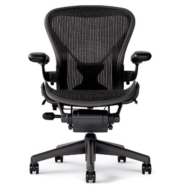 herman miller aeron chair size b in black with posturefit - Herman Miller Aeron Chair