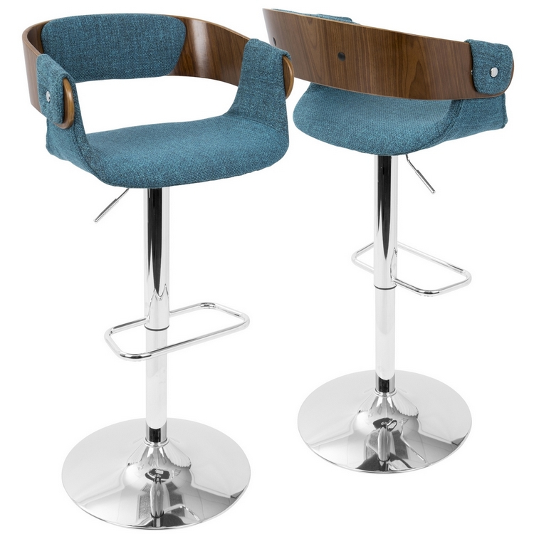 Awesome Lumisource Envi Mid Century Modern Adjustable Barstool In Walnut And Blue Teal Forskolin Free Trial Chair Design Images Forskolin Free Trialorg