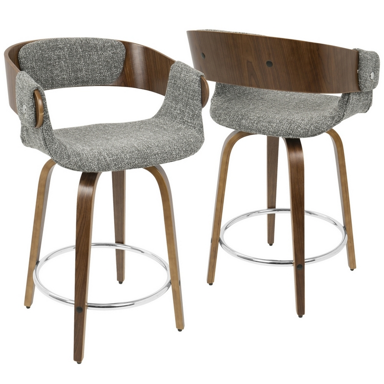 Awesome Lumisource Elisa Mid Century Modern Counter Stool In Walnut And Grey Squirreltailoven Fun Painted Chair Ideas Images Squirreltailovenorg