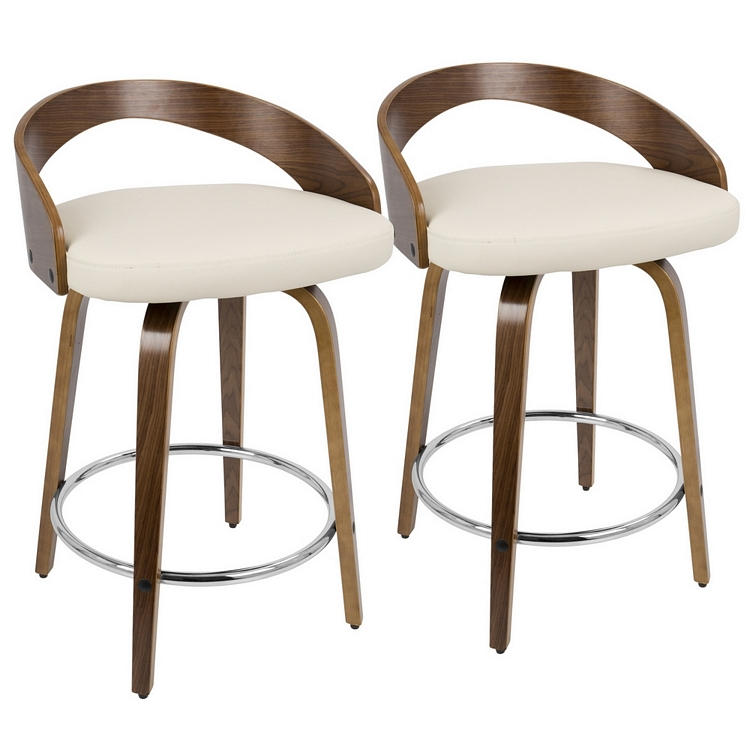 Miraculous Lumisource Grotto Mid Century Modern Counter Stool With Walnut Wood And Cream Pu Leather Squirreltailoven Fun Painted Chair Ideas Images Squirreltailovenorg