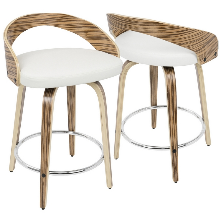Marvelous Lumisource Grotto Mid Century Modern Counter Stool In Zebra Wood And White Pu Squirreltailoven Fun Painted Chair Ideas Images Squirreltailovenorg
