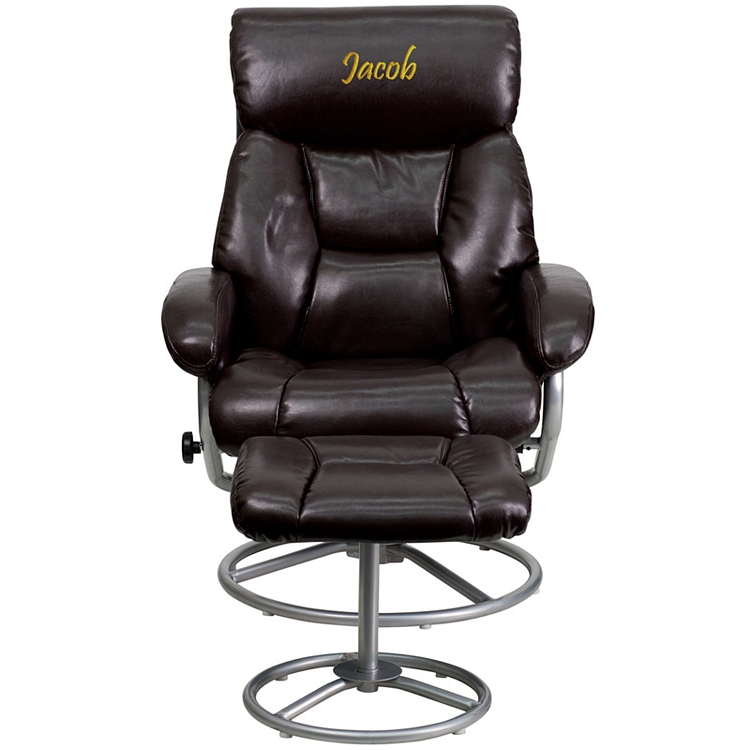 Awe Inspiring Flash Furniture Personalized Contemporary Brown Leather Recliner And Ottoman With Metal Base Uwap Interior Chair Design Uwaporg