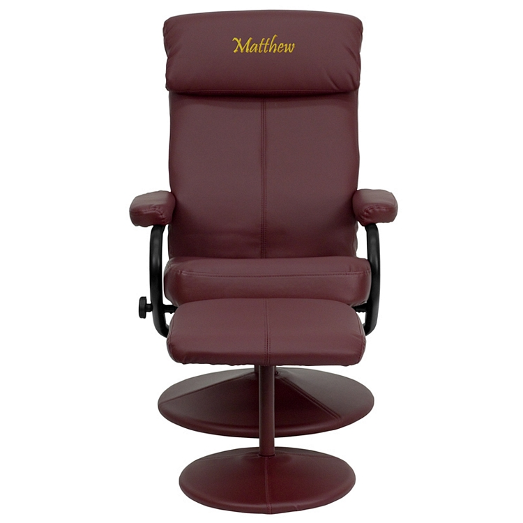 Groovy Flash Furniture Personalized Contemporary Burgundy Leather Recliner And Ottoman With Leather Wrapped Base Uwap Interior Chair Design Uwaporg