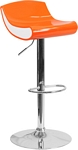 Flash Furniture Contemporary Orange and White Adjustable Height Plastic Barstool with Chrome Base