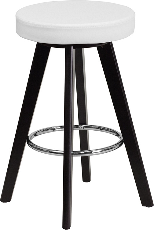 Flash Furniture Trenton Series 24u0027u0027 High Contemporary Cappuccino Wood  Counter Height Stool With White Vinyl Seat