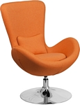 Flash Furniture Egg Series Orange Fabric Side Reception Chair
