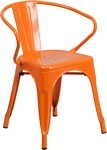 Flash Furniture Orange Metal Indoor-Outdoor Chair with Arms