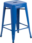Flash Furniture 24'' High Backless Blue Metal Indoor-Outdoor Counter Height Stool with Square Seat