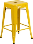Flash Furniture 24'' High Backless Yellow Metal Indoor-Outdoor Counter Height Stool with Square Seat