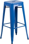 Flash Furniture 30'' High Backless Blue Metal Indoor-Outdoor Barstool with Square Seat
