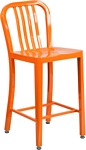 Flash Furniture 24'' High Orange Metal Indoor-Outdoor Counter Height Stool with Vertical Slat Back