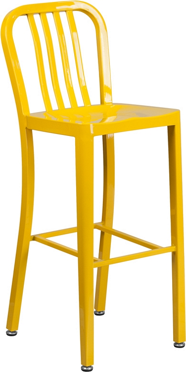 Amazing Flash Furniture 30 High Yellow Metal Indoor Outdoor Barstool With Vertical Slat Back Unemploymentrelief Wooden Chair Designs For Living Room Unemploymentrelieforg