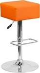 Flash Furniture Contemporary Orange Vinyl Adjustable Height Barstool with Chrome Base