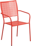 Flash Furniture Coral Indoor-Outdoor Steel Patio Arm Chair with Square Back