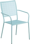 Flash Furniture Sky Blue Indoor-Outdoor Steel Patio Arm Chair with Square Back